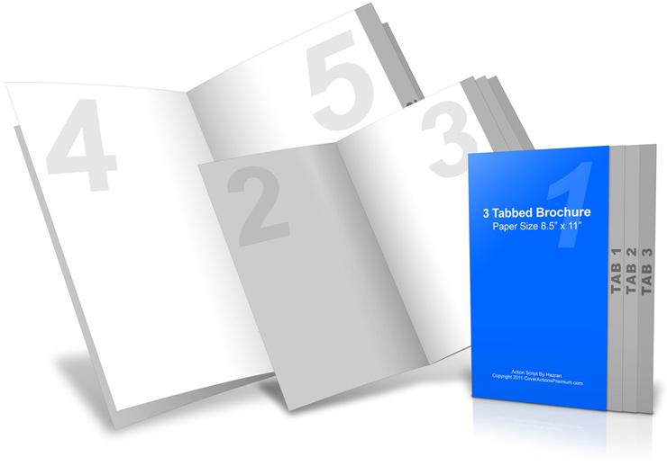 8 page 3 tab brochure mockup cover actions premium mockup psd