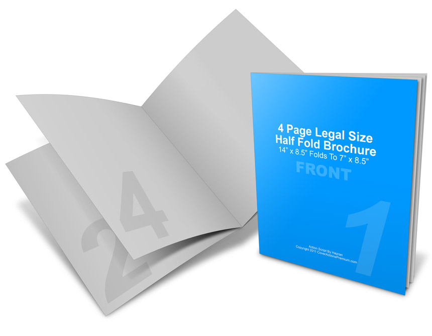 14 x 8 5 half fold brochure mockup cover actions premium for Half page brochure template