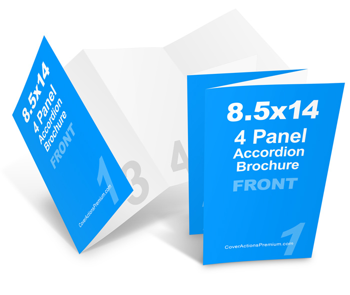 4 Fold Brochure Template Free: 8 Page Accordion Fold Brochure Mockup