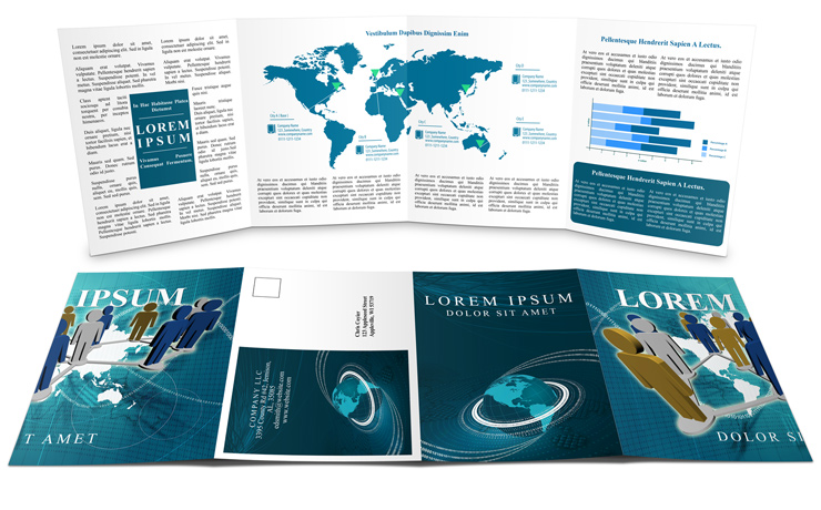 Double gate fold brochure mockup cover actions premium for 2 panel brochure template