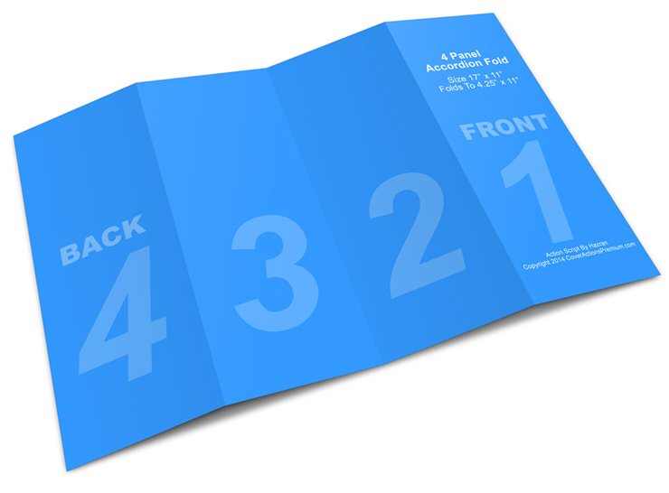 4 Panel 17x11 Accordion Fold Brochure Mockup