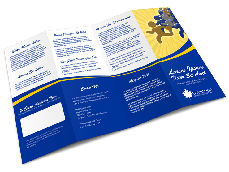 4 panel accordion brochure mock up cover actions premium for Quad fold brochure template