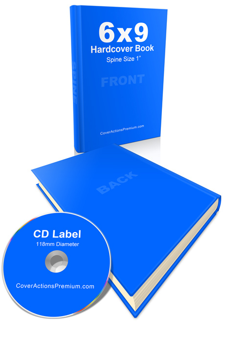 Hardback Book Paper Cover ~ Hardback book and cd mockup cover actions premium