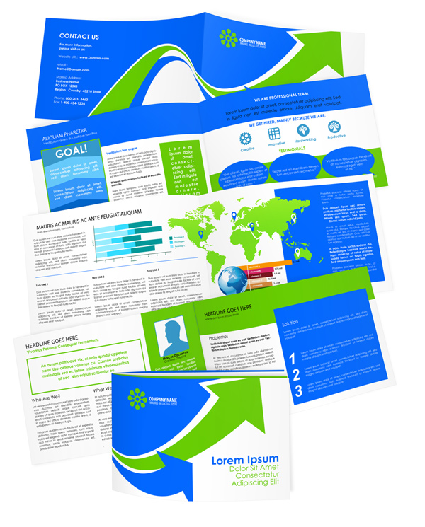 8 5 x 11 brochure template - 8 page horizontal booklet mockup cover actions