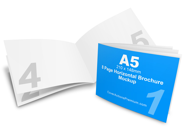 8 page a5 horizontal brochure mockup cover actions premium