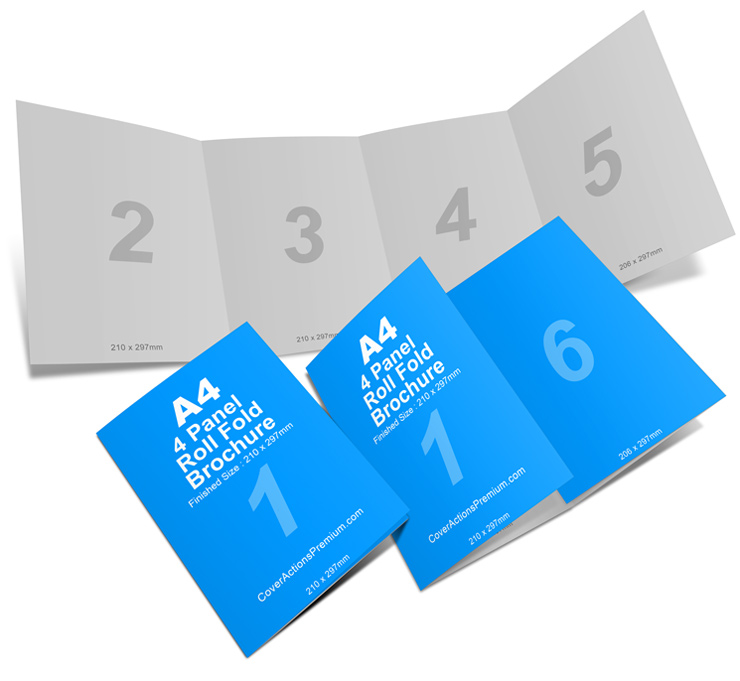 4 Panel A4 Roll Fold Brochure Mockup Cover Actions Premium
