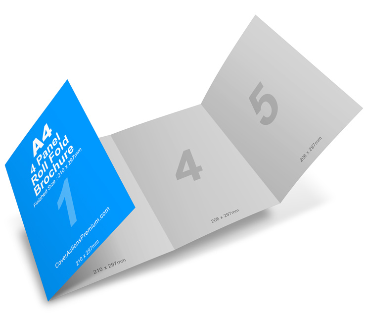 4 panel a4 roll fold brochure mockup cover actions for 4 page brochure template