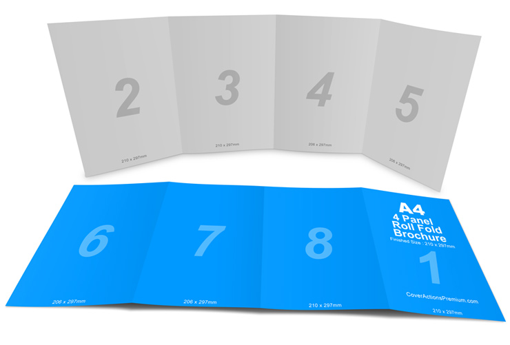 4 panel a4 roll fold brochure mockup cover actions for 4 panel brochure template