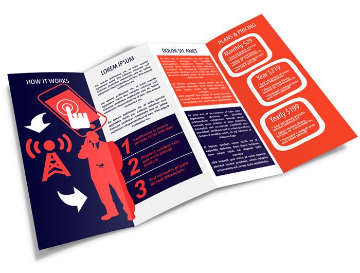 4 panel accordion fold brochure mockup cover actions premium