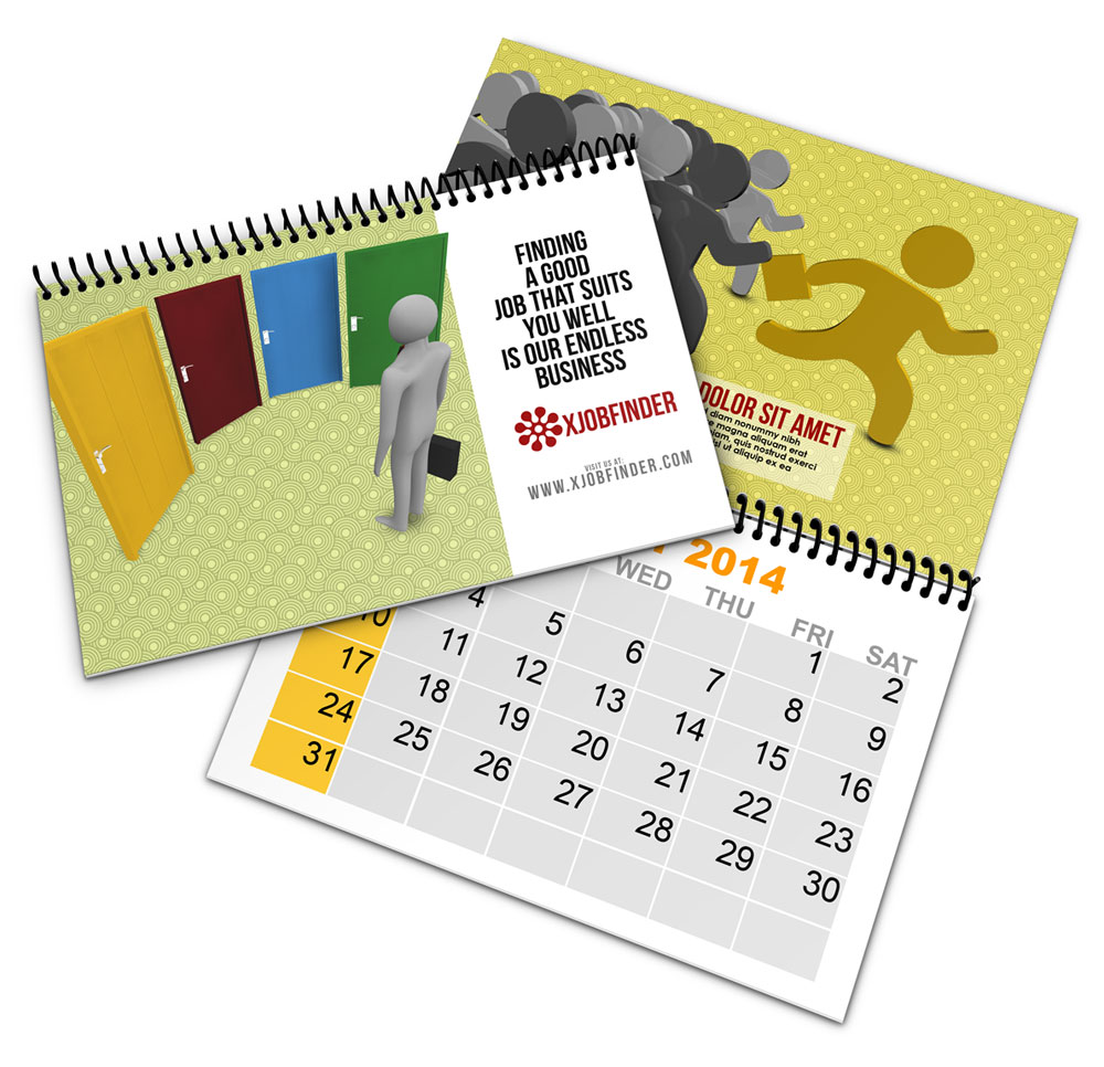 Spiral Bind Calendar Book Mock Up
