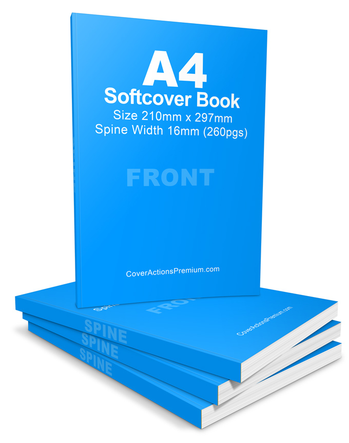A4 Softcover Book Cover Actions Portrait 260 Pgs Cover Actions Premium Mockup Psd