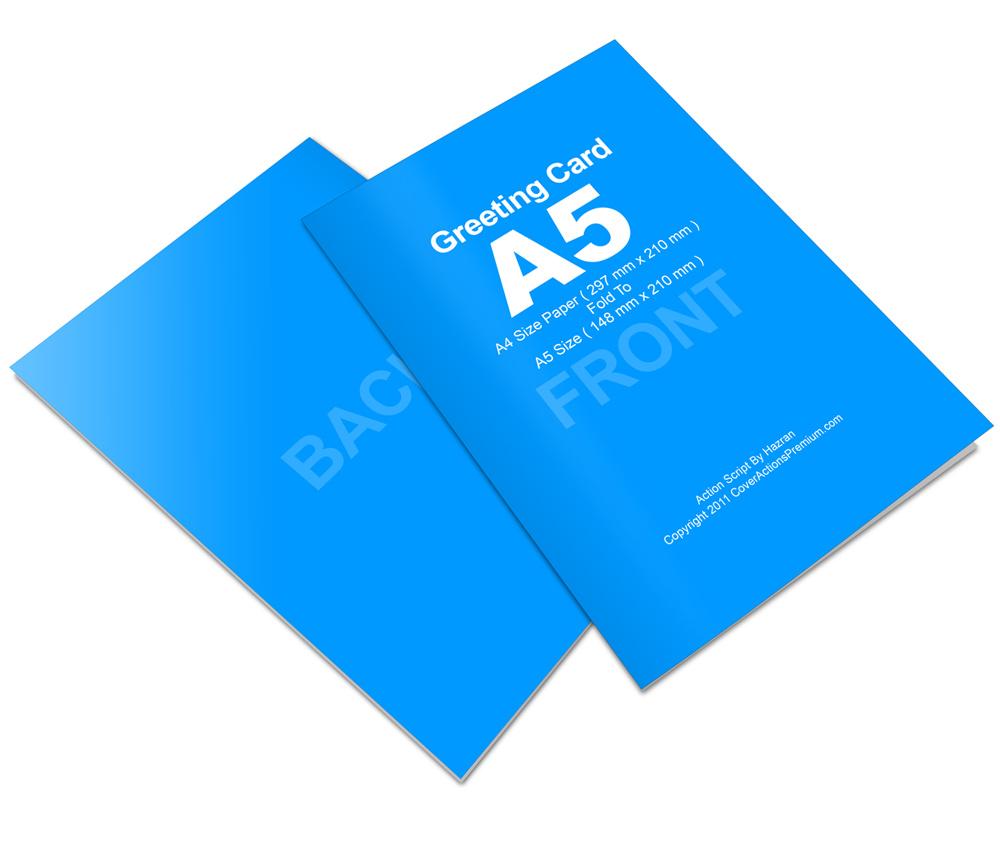 bi fold a5 greeting card mockup