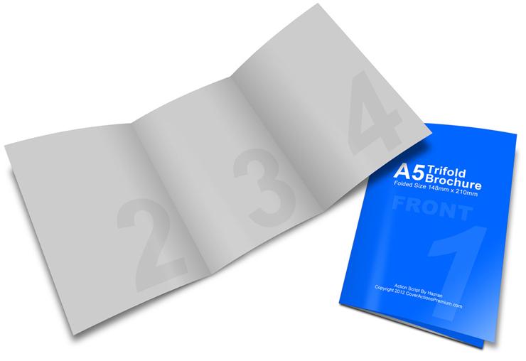 A5 / A4 Tri Fold Brochure Mockup | Cover Actions Premium