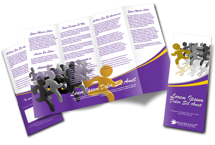 Double parallel fold brochure mockup cover actions for Quad fold brochure template