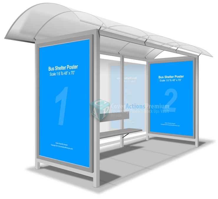 bus shelter posters mockup action cover actions premium mockup