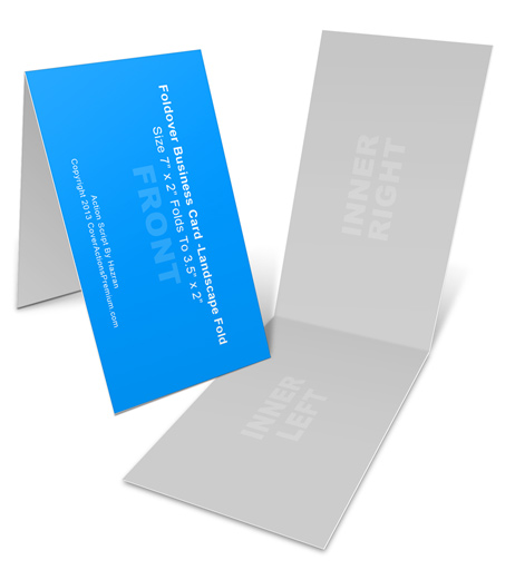 Landscape foldover business card mock ups 7x2in cover actions horizontal foldover business card mock up action scripts reheart Image collections