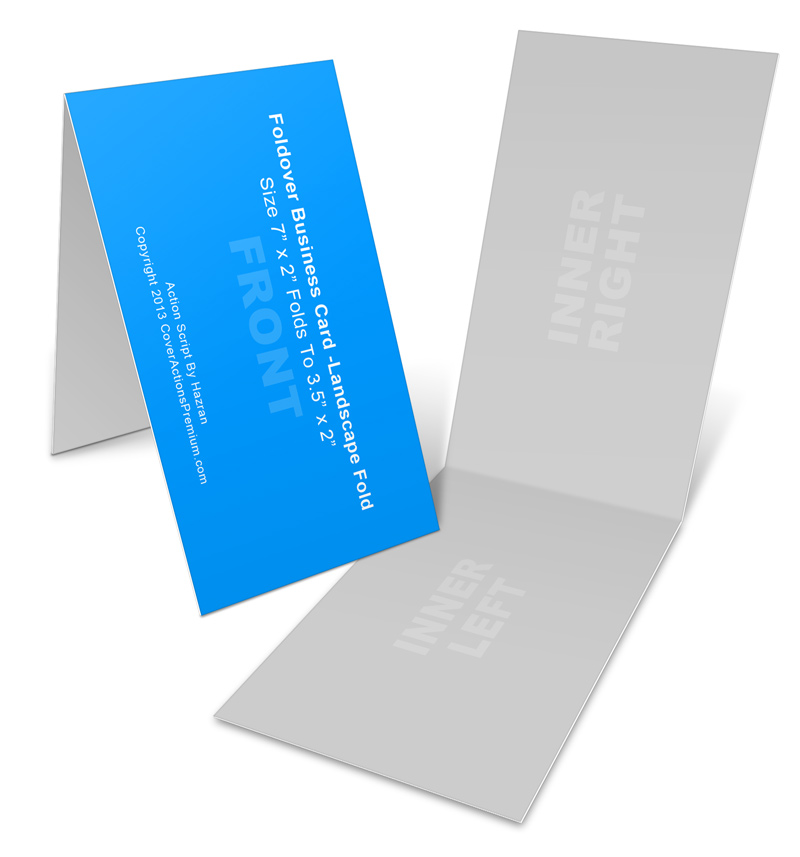 Landscape Foldover Business Card Mock Ups- 7x2in | Cover Actions ...
