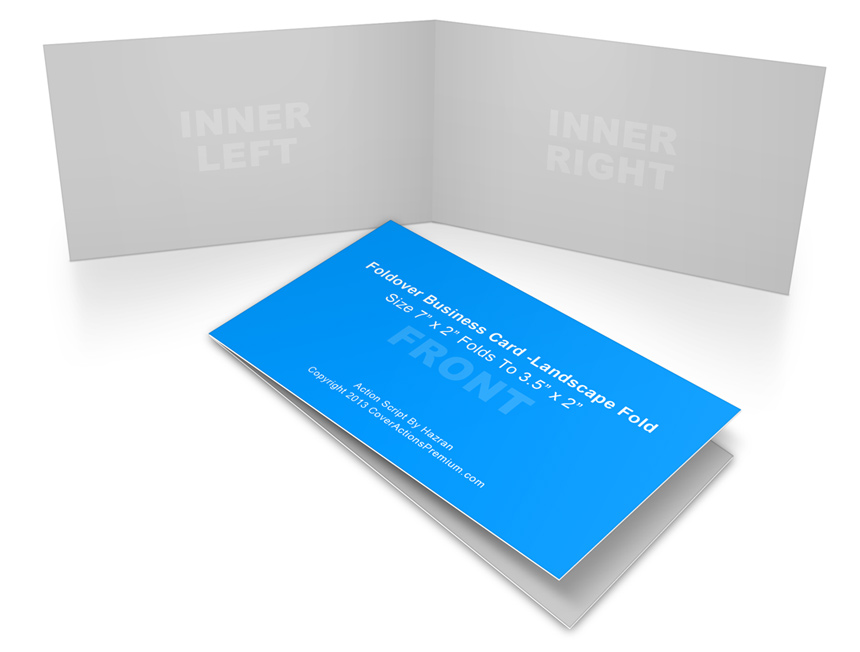 Landscape Foldover Business Card Mock Ups- 7x2in   Cover Actions ...