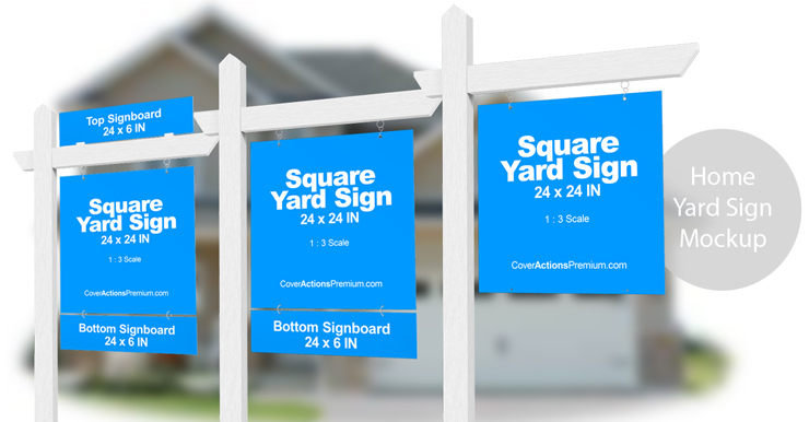Home Yard Sign Mockup Cover Actions Premium Mockup Psd Template