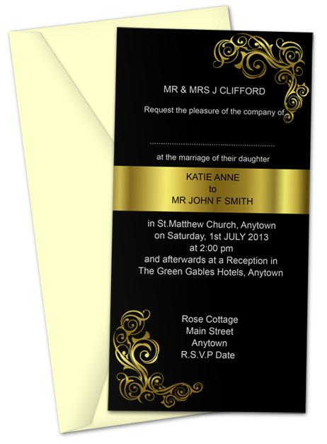 Invitation Card 10.5 x 20.5 cm Action Script