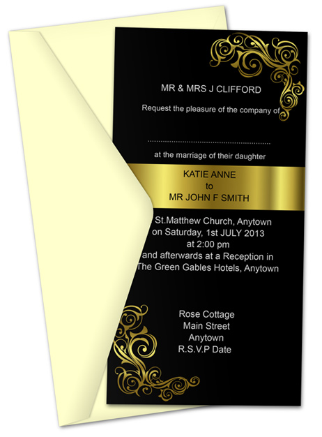 Invitation Card 10.5 x 20.5 cm Action Script
