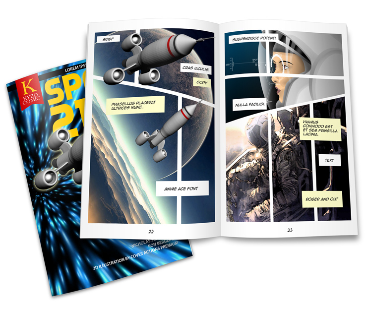 comic book page template psd - open comic book mockup template cover actions premium