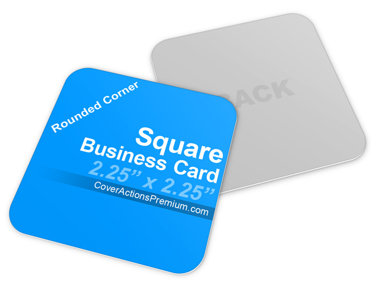 Square Business Card Mockup Cover Actions Premium Mockup PSD - Rounded corner business card template