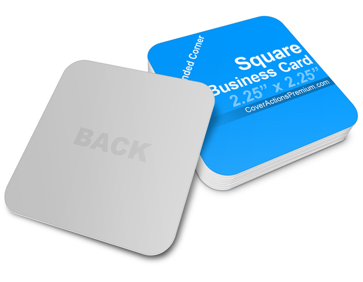 Square business card mockup cover actions premium mockup psd rounded corners square business card mockup reheart