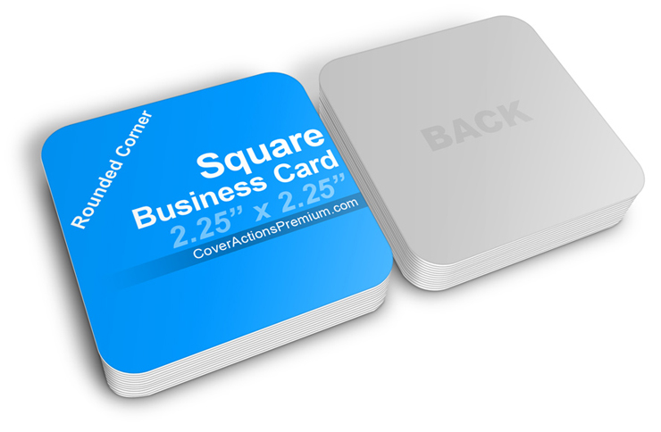 Square business card mockup cover actions premium mockup psd rounded corners square business card mock ups reheart