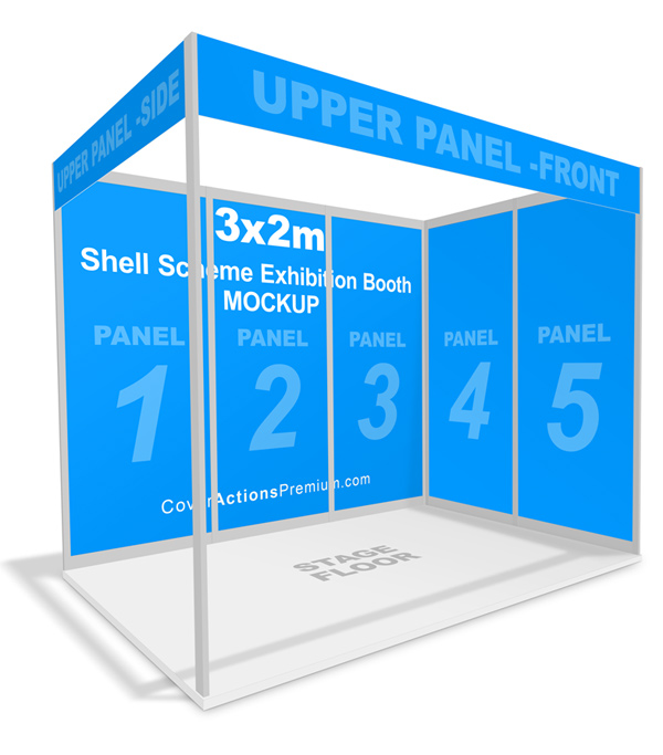 Exhibition Stand Mockup Free Download : Shell scheme exhibition booth mockup cover actions