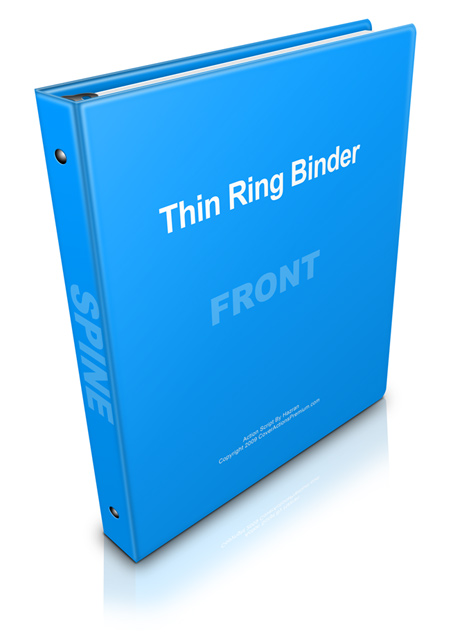 Thin ring binder mock up photoshop cover actions for Half inch binder spine template