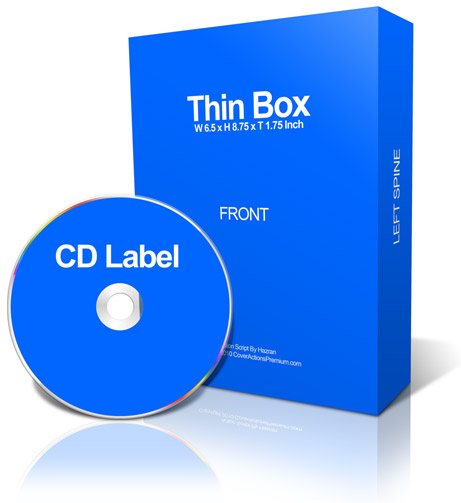 Thin software box with CD / DVD ecover actions