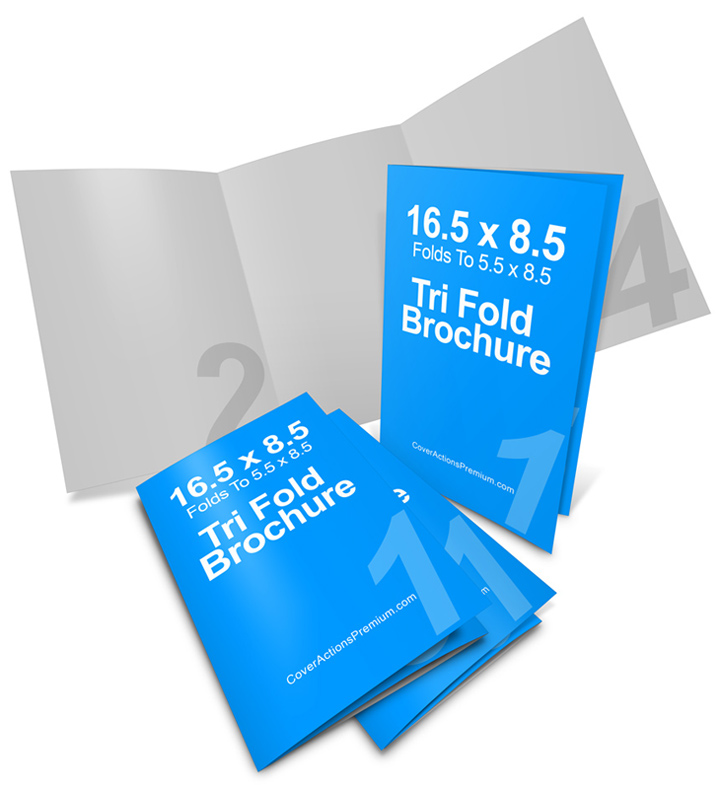 165 x 85 Tri Fold Brochure Mockup Cover Actions – Gate Fold Brochure Mockup