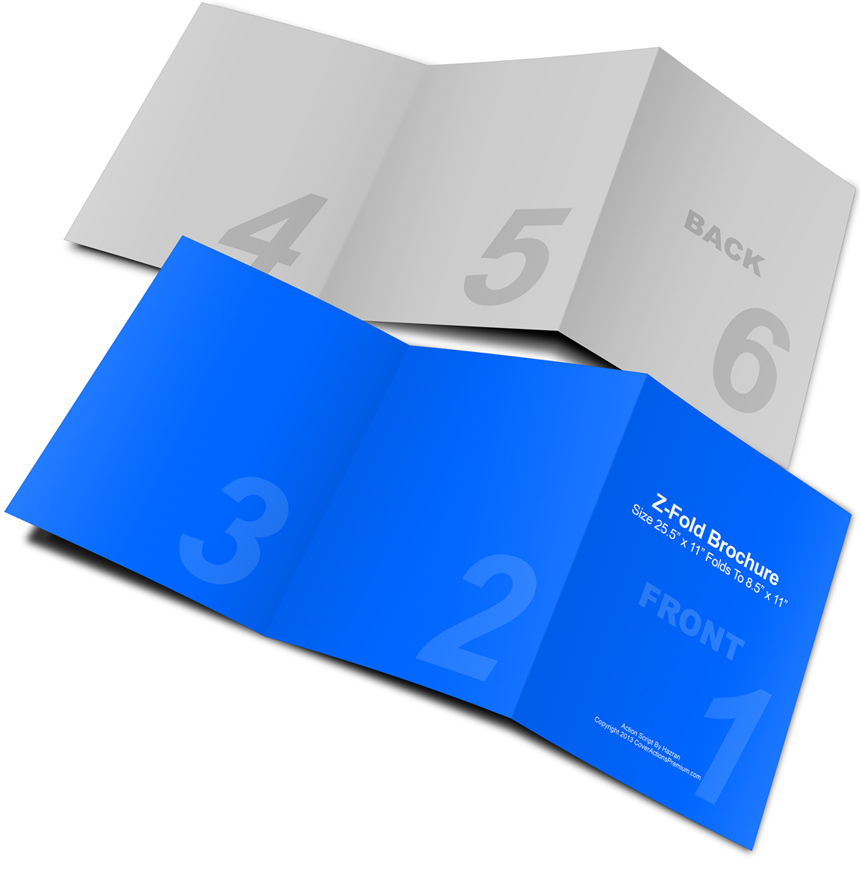 Z fold brochure mockup 25 5 x 11 cover actions premium for 6 fold brochure template