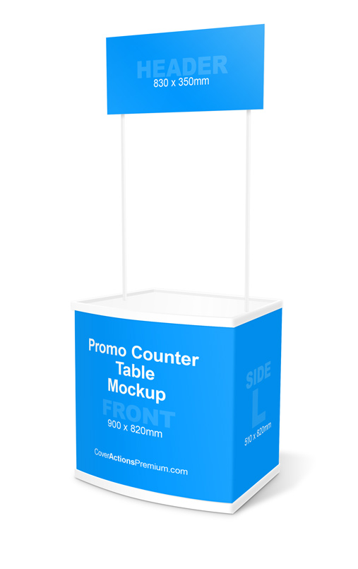 promo counter table mockup