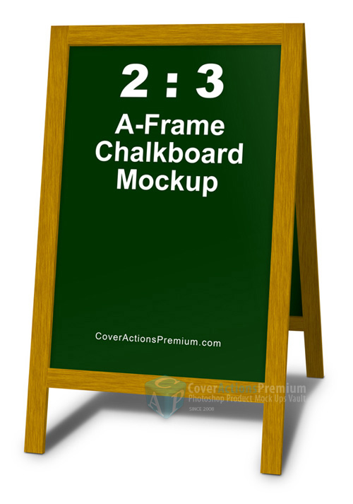 2 3 a frame chalkboard mockup cover actions premium mockup psd template. Black Bedroom Furniture Sets. Home Design Ideas