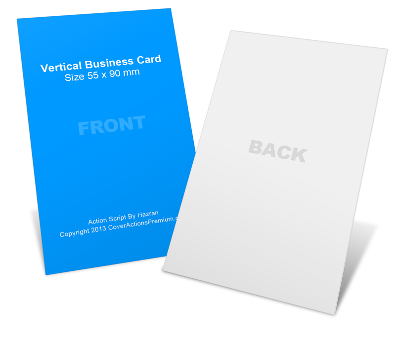 Vertical 90 x 55mm Business Card Mock Ups | Cover Actions ...