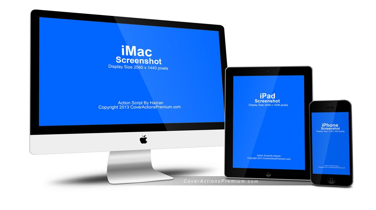 Apple Imac Iphone Ipad Mock Up Cover Actions Premium Mockup